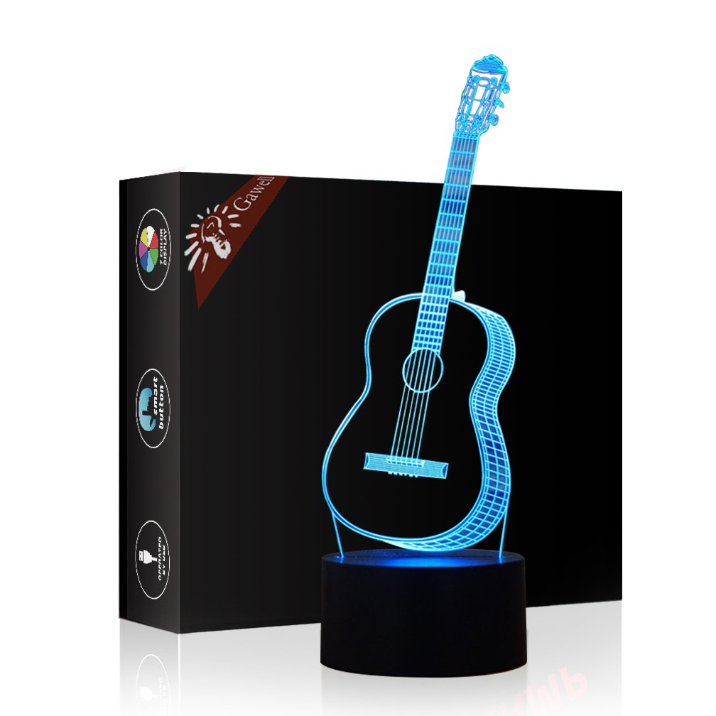 Christmas Gift Guitar 3D Illusion Birthday Present Lamp, Gawell 7 Color Changing Touch Switch Table Desk Decoration Night Lamp with Acrylic Flat & ABS Base & USB Cable Toy for Music Lover by Gawell