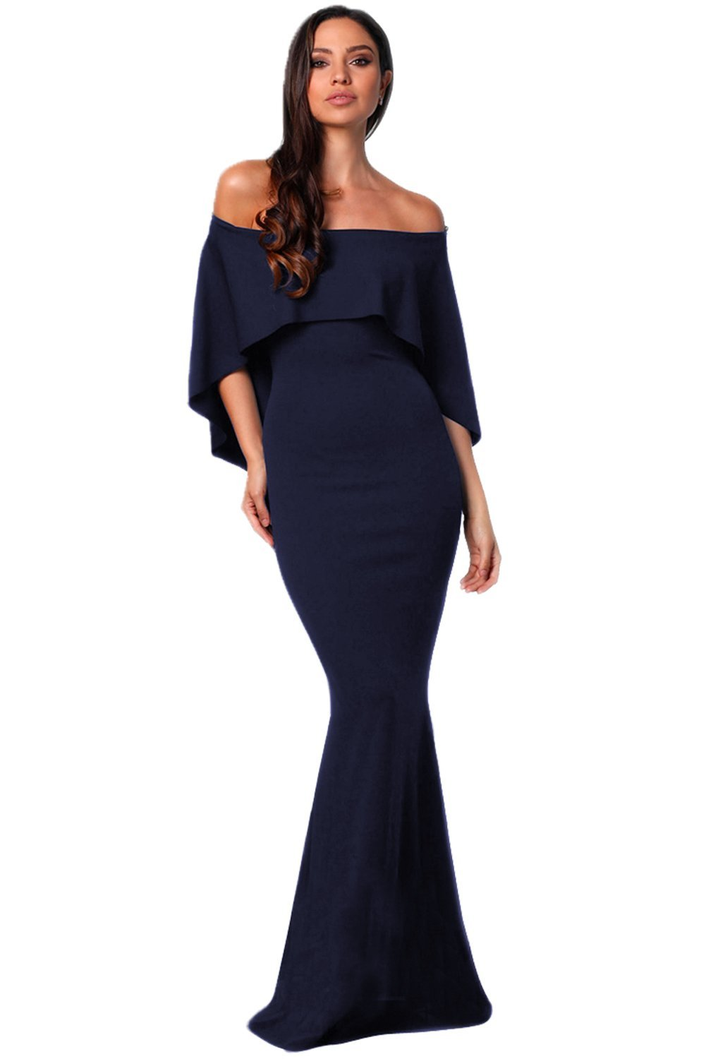Women's Sexy Off Shoulder Evening Maxi Dress Bodycorn Cocktail Party Dress Navy Blue S