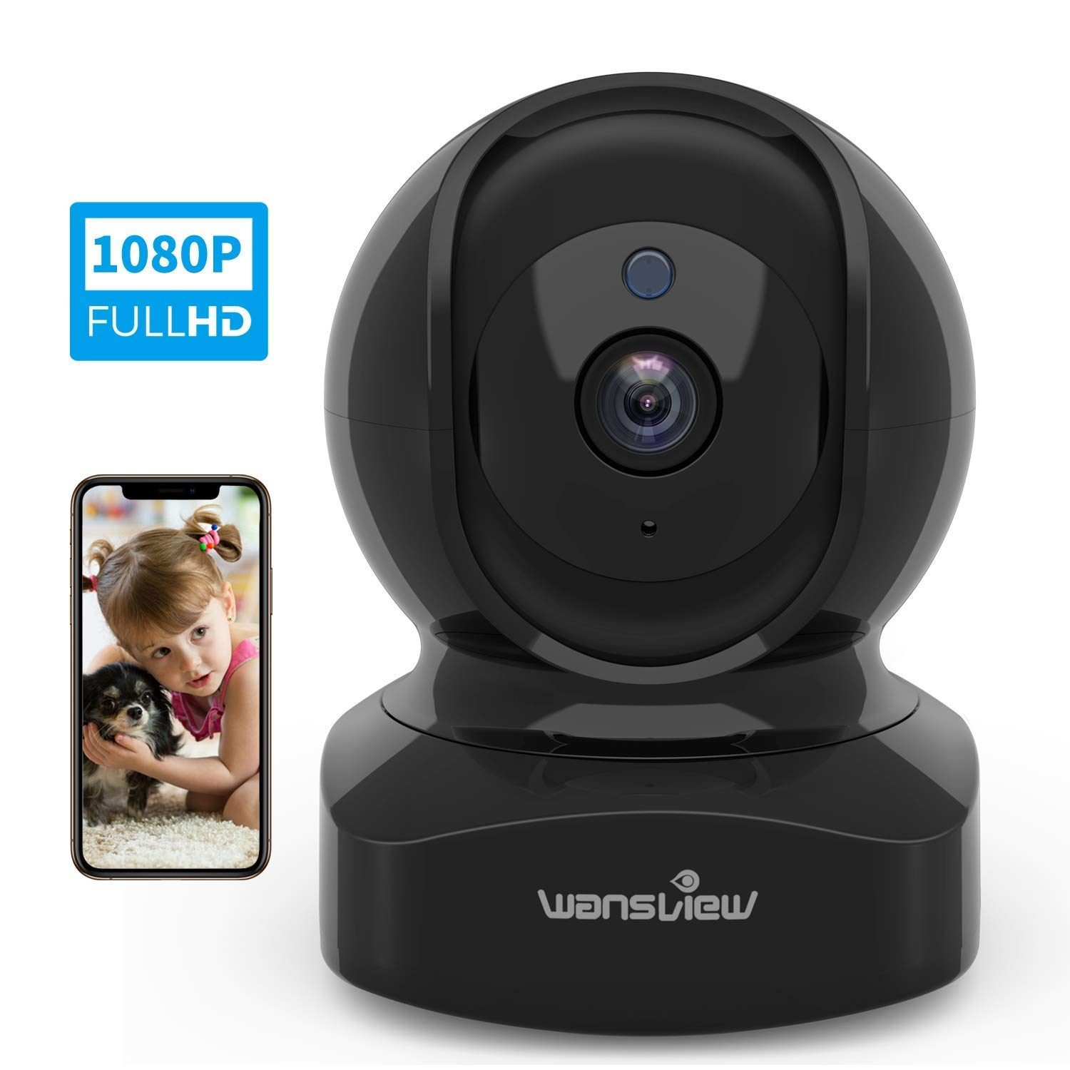 Wireless Security Camera, IP Camera 1080P HD Wansview, WiFi Home Indoor Camera for Baby/Pet/Nanny, Motion Detection, 2 Way Audio Night Vision, Works with Alexa, with TF Card Slot and Cloud by wansview