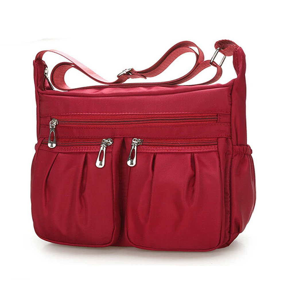 Clearance Sale Women Crossbody Bag Nylon, Fashion Solid [ Zipper Waterproof Shoulder Bag ] (Red) by Vanvler Backpack (Image #2)