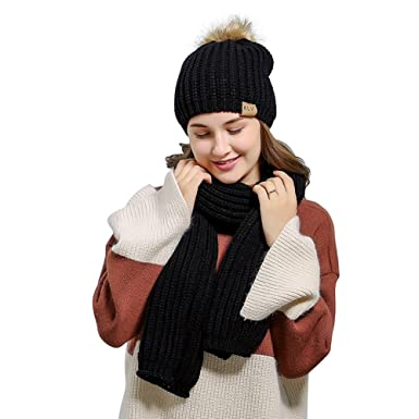 f15aaec49095ed Fashion Winter Scarf and Hat Set for Women Cashmere Blend Knitted Skullcaps Beanie  for Winter Autumn