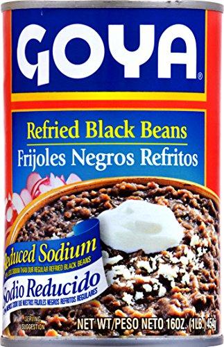 Goya Refried Black Beans, Reduced Sodium, 16 Ounce by Goya