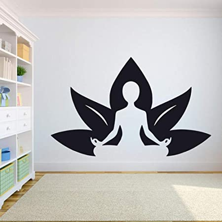 Lotus Pose Yoga Wall Sticker Home Gym Vinyl Wall Glass ...