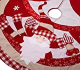 "iPEGTOP 42"" Quilted Christmas Tree Skirt - Happy Santa with White Tree Snowflake Holiday Decorations - Red stitching Beige Tartan Rim"