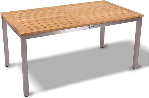 Monbea Venus - Mesa de jardín (acero inoxidable, madera de teca, grado A): Amazon.es: Hogar