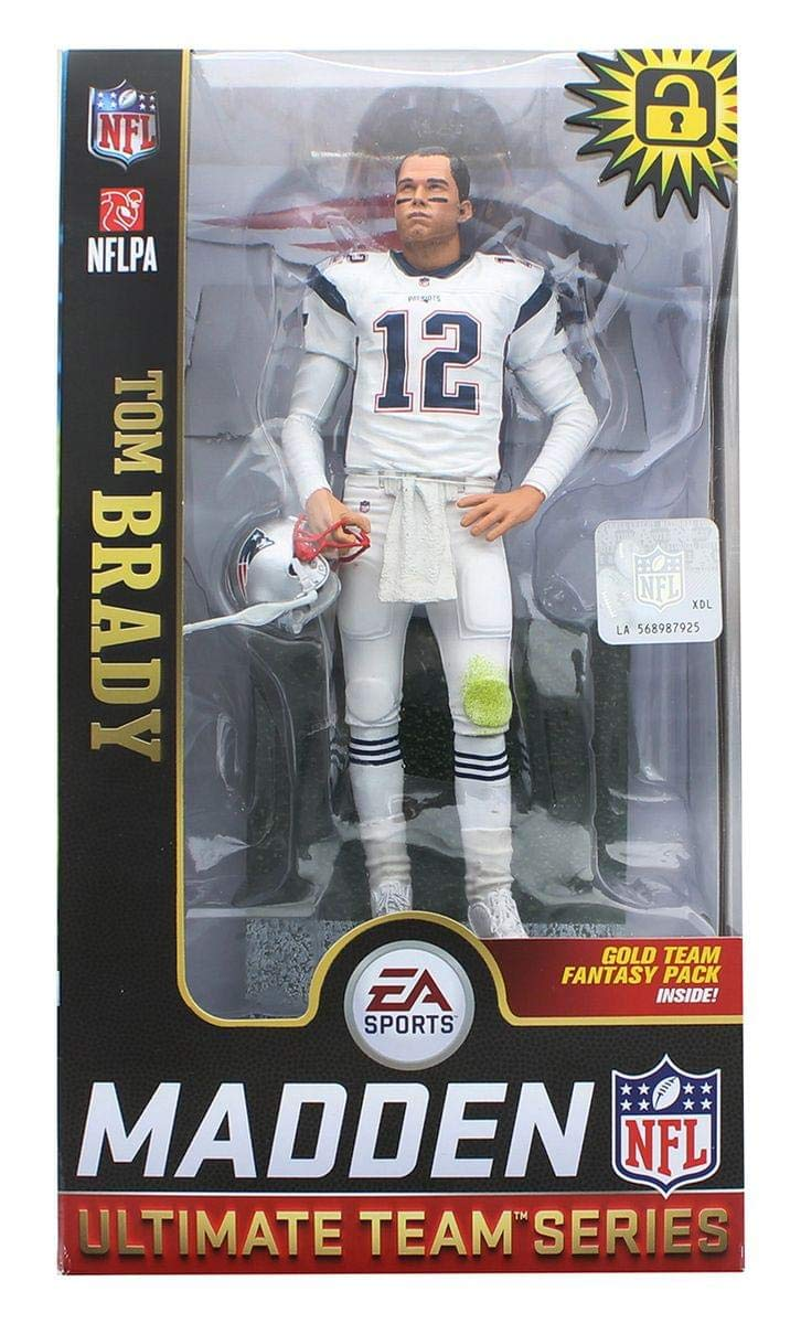 EA Sports Mcfarlane Madden 19 Ultimate Team Series Tom Brady Exclusive White Uniform Figure Gold Team Fantasy Pack Inside McFarlane Toys SG/_B07JQ5263X/_US