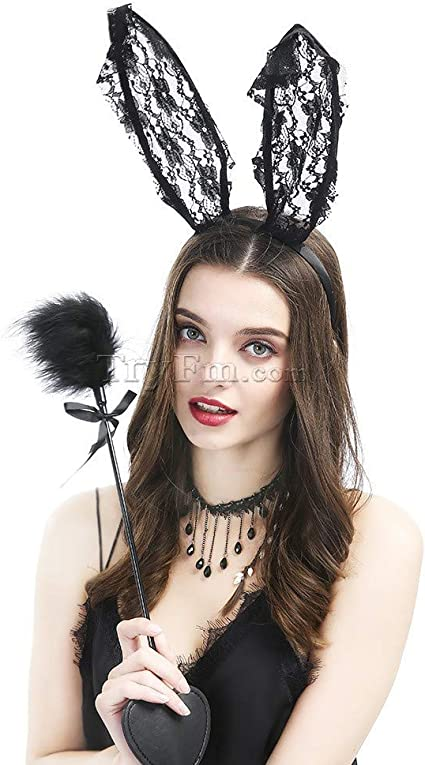 Black White Bunny Ears Pet Play Costume Easter Cosplay
