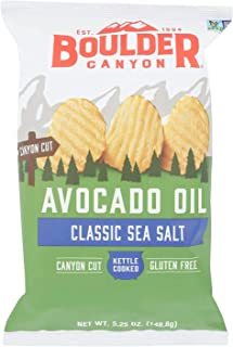 product image for Boulder Canyon Avocado Oil Kettle Cooked Potato Chips, Sea Salt, Wavy Cut, 5.25 oz. Bag, 12 Count – Crunchy Chips Cooked in 100% Avocado Oil, Perfect for Dipping, Great for Lunches or Snacks