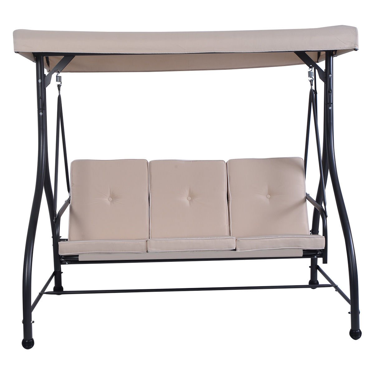 Globe House Products GHP 750-Lbs Capacity Black Frame & Beige Fabric Steel 3-Seat Swing Bench with Cushions
