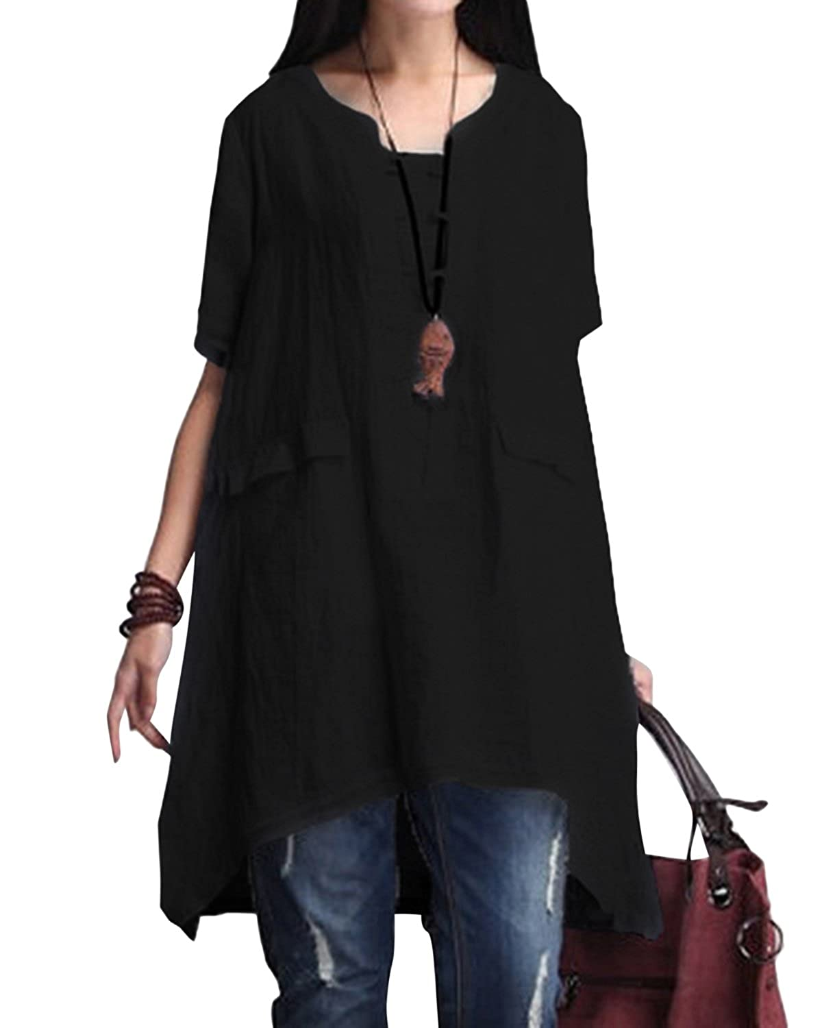 42b6ad00dbe 【Material】: Cotton & Linen, soft and comfortable to wear. 【Features】: This  tunic is fake v neck design, short sleeve, hi-low hem, split side,loose fit.
