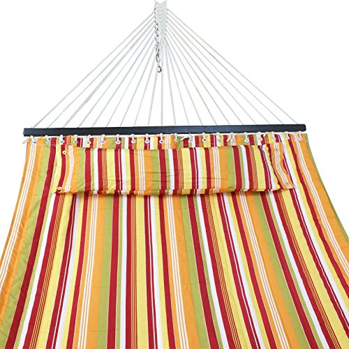 ZENY Double Hammock Quilted Fabric w/Detchable Pillow Wooden Spreader Bar,Heavy Duty 450 Lbs Capacity,Camping Beach Garden Yard Hammock (Yellow Stripe) by ZENY