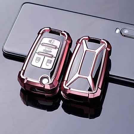 Ontto Klapp Autoschlüssel Hülle Cover Für Chevrolet Camaro Cruze Equinox Impala Malibu Sonic Spark Volt Holden Trax Tpu Schutzhülle Schlüsselschutz Schlüsselanhänger Schlüssel Tasche Etui Rosa Auto