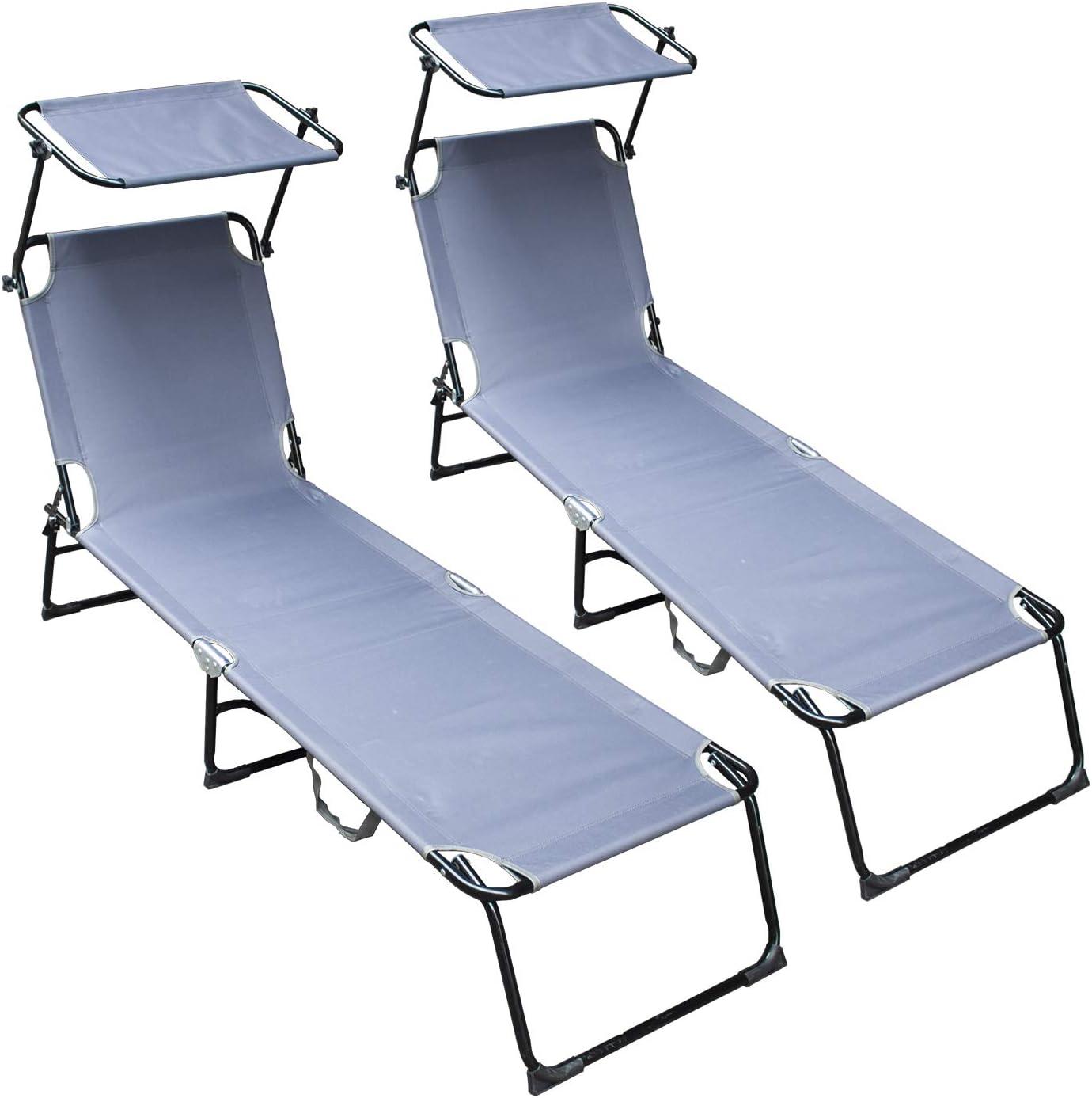 vingo Set de 2 Tumbona Ajustable Cama Hamaca Relax en Exterior Piscina Terraza Camping Jardin Playa 189x55x27cm Gris: Amazon.es: Jardín