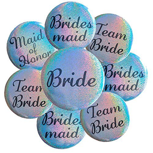 Bachelorette Button (16 Silver Sparkling Glitter Bachelorette Buttons Badge Pins for Bridal Party and Shower, Includes 1x Bride, 1x Maid of Honor, 5x Bridesmaid and 9x Team Bride)