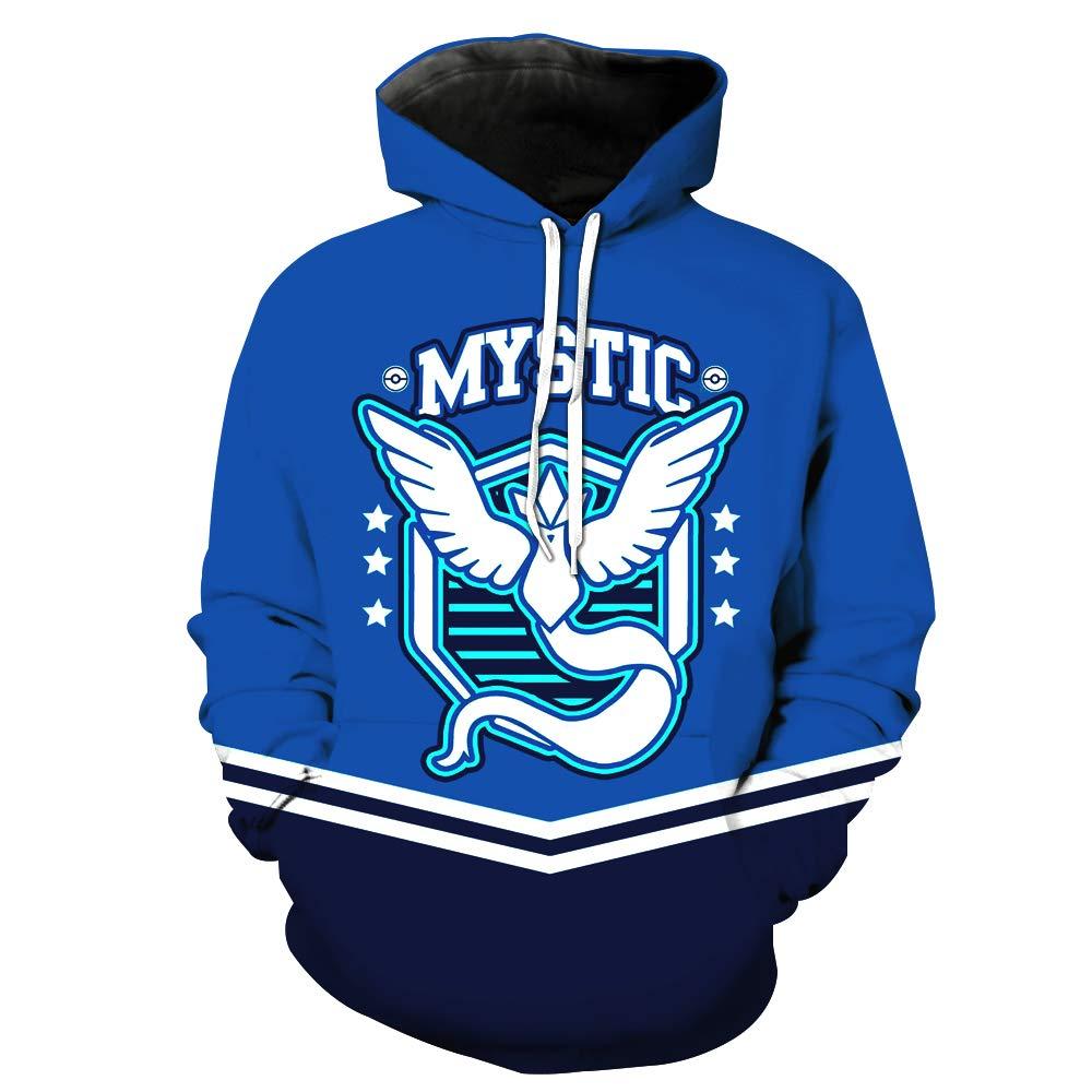 JJCat Mens Hooded Long Sleeve 3D Print Mystic Football Team Sports Blue Sports Baseball Pullover Hoodies