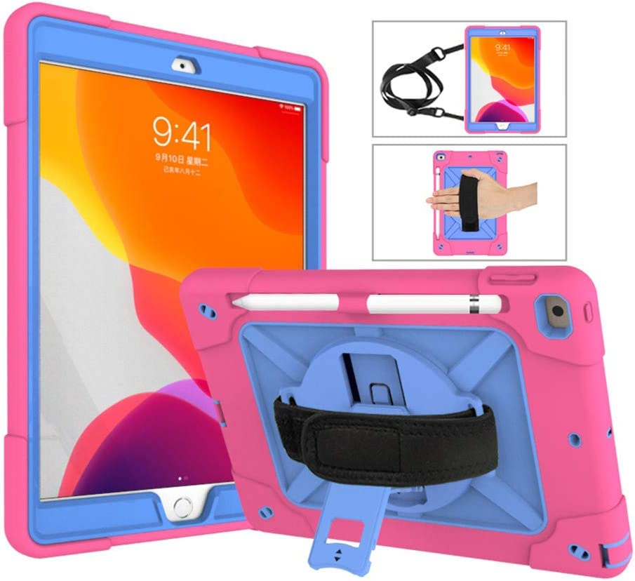 "360 Rotating iPad 8 iPad 7 10.2 inch case with Pencil Holder, iPad 8th 7th Generation Kickstand Shockproof Heavy Duty with Shoulder Strap Hand Strap for iPad 8 7 10.2"" (iPad10.2 inch, Rose+Blue)"