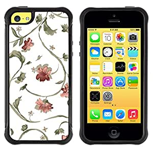 All-Round híbrido Heavy Duty de goma duro caso cubierta protectora Accesorio Generación-II BY RAYDREAMMM - Apple iPhone 5C - Floral Pattern Wallpaper White Blossoms Art