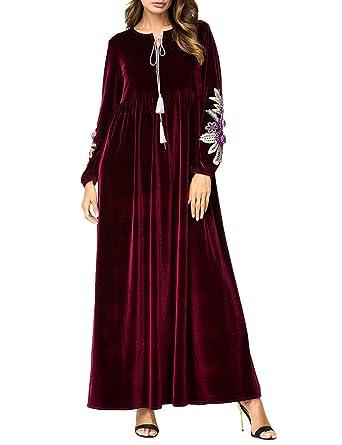 BESBOMIG árabe Casual Vestido Noble Musulmanes Largo Batas Abaya Maxi Falda Vestidos - Medio Este Pavo Noche Vestido Talla Extra: Amazon.es: Ropa y ...