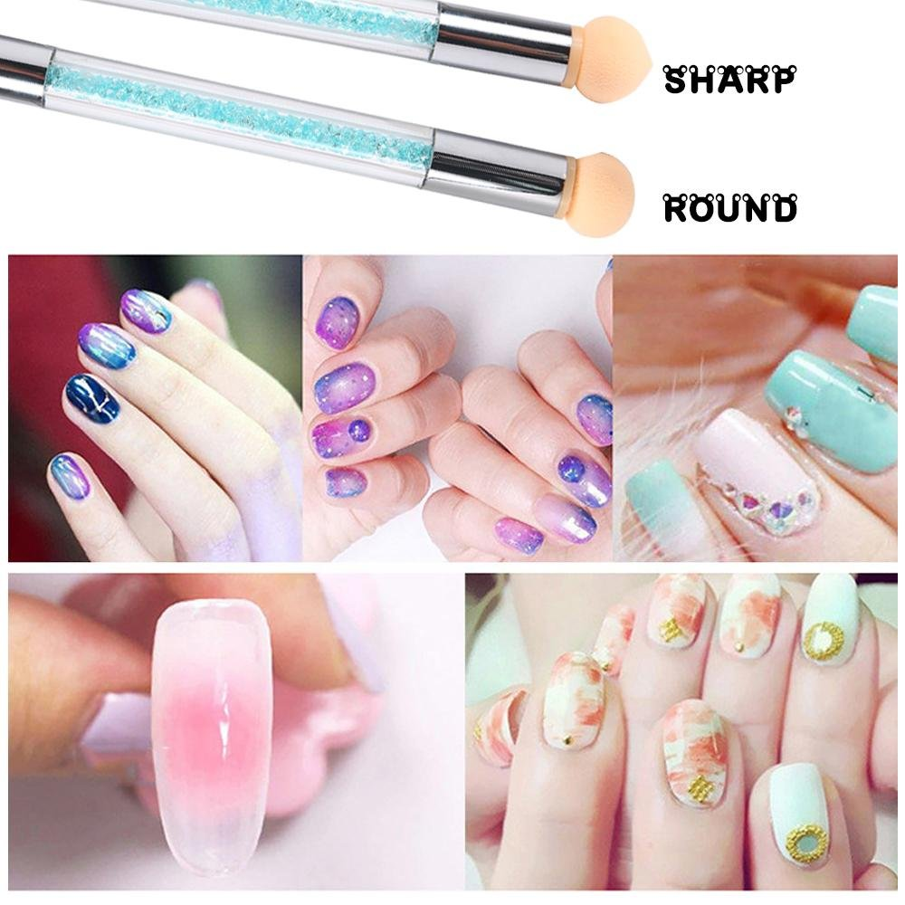 Pawaca Nail Art Cepillo,Cepillo de uñas para manicura de uñas con doble punta y 4 cabezales reemplazables,uñas con punta de doble Esponja Cepillo para ...