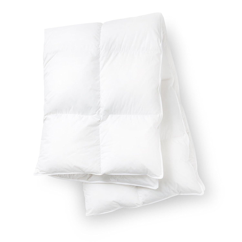 Atmungsaktive Sommerbettdecke 155 x 220 cm lange Bettdecke – kuschelig weiche leichte Decke aus weißen Daunen und Federn gesteppt für Allergiker Erwachsene Kinder Jugendliche
