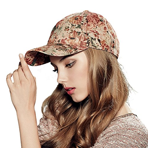 Kenmont Lady Corduroy Cotton Floral Baseball Cap (Red) Ladies Corduroy