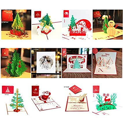 3d pop up greeting cards happy birthday merry christmas weeding handmade card