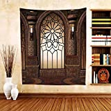 Gzhihine Custom tapestry Gothic Decor Collection Illustration of Antique Myst Gate with Oriental Islamic Pattern and Curvings Artistic Design Bedroom Living Room Dorm Tapestry Brown