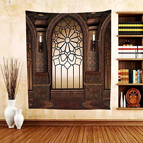 Gzhihine Custom tapestry Gothic Decor Collection Illustration of Antique Myst Gate with Oriental Islamic Pattern and Curvings Artistic Design Bedroom Living Room Dorm Tapestry Brown by Gzhihine