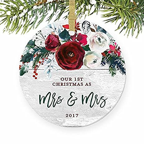 modern mrs mrs lesbian couple 1st christmas married first gift for newlywed wife women present
