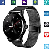 Banaus® B4 Newest SmartWatch with Bluetooth 4.0 Support Heart Rate Monitor for Android Samsung Galaxy S4/S5/S6/S7/Note3/Note4/Note5/Note6 HTC Sony LG Xiaomi Huawei ZUK and iPhone 5/5C/5S/6/6S (Black)