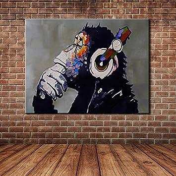 IPLST@ Handgemalte Tierkunst Karikatur Lustige Affe Ölgemälde Segeltuch Kunst  Für