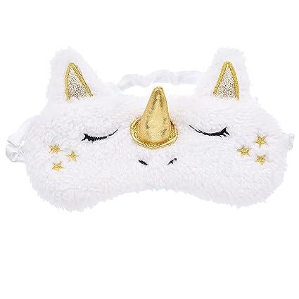 Ynuth - Antifaz para dormir con diseño de unicornio, estilo Kawaii, tela, dorado