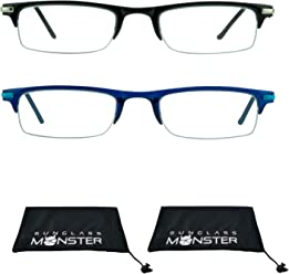 f63b2ddd48bc Thin Semi Rimless rectangular Reading Glasses 2 Pairs for Men   Women