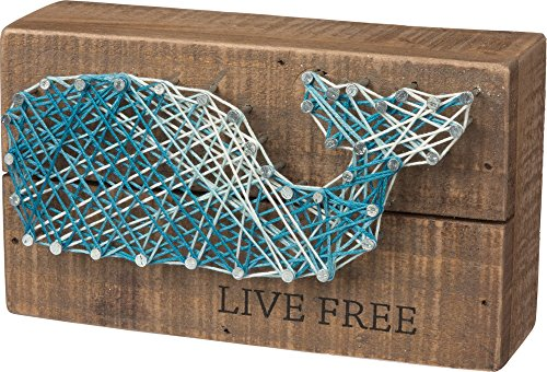 Primitives by Kathy String Art Box Sign, 3.5 x 6, Whale- Live Free