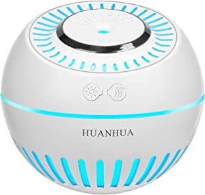 HUANHUA Mist Cool Baby Humidifier, 380ML Mini Desk Humidifiers with 7 Changing Color LED Light Waterless Auto Shut Off Whisper Quiet for Home Babyroom Office Car Yoga