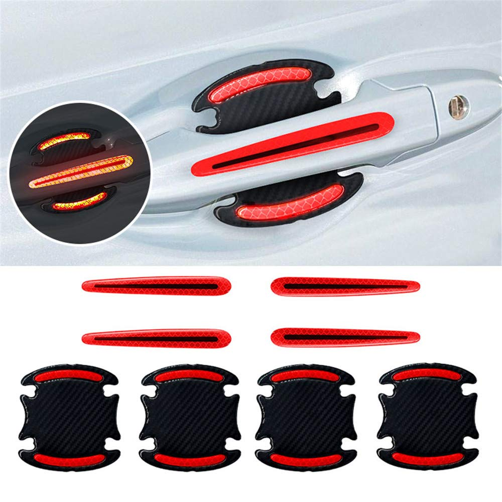 Ceyes Car Outdoor Safety Reflective Stickers Universal 3D Carbon Fiber Texture Car Door Handle Scratch Protector Covers /& Strips Guard Protective 8pcs Red