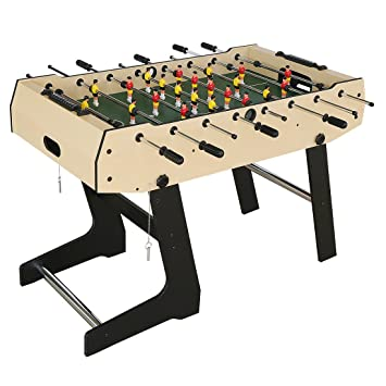 HLC Folding Soccer Table Football Table-Wooden Grain PVC Football ...