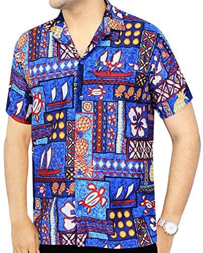 Las Azul Casual Leela Hawaiano Hombre La De Camisa Abajo w237 Botón ZWzqY