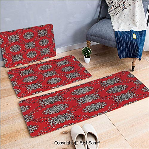 (FashSam 3 Piece Flannel Doormat Sketchy Leaves Swirl Ivy Victorian Mesh Design Inspired Image for Kitchen Rugs Carpet(W15.7xL23.6 by W19.6xL31.5 by W35.4xL62.9))