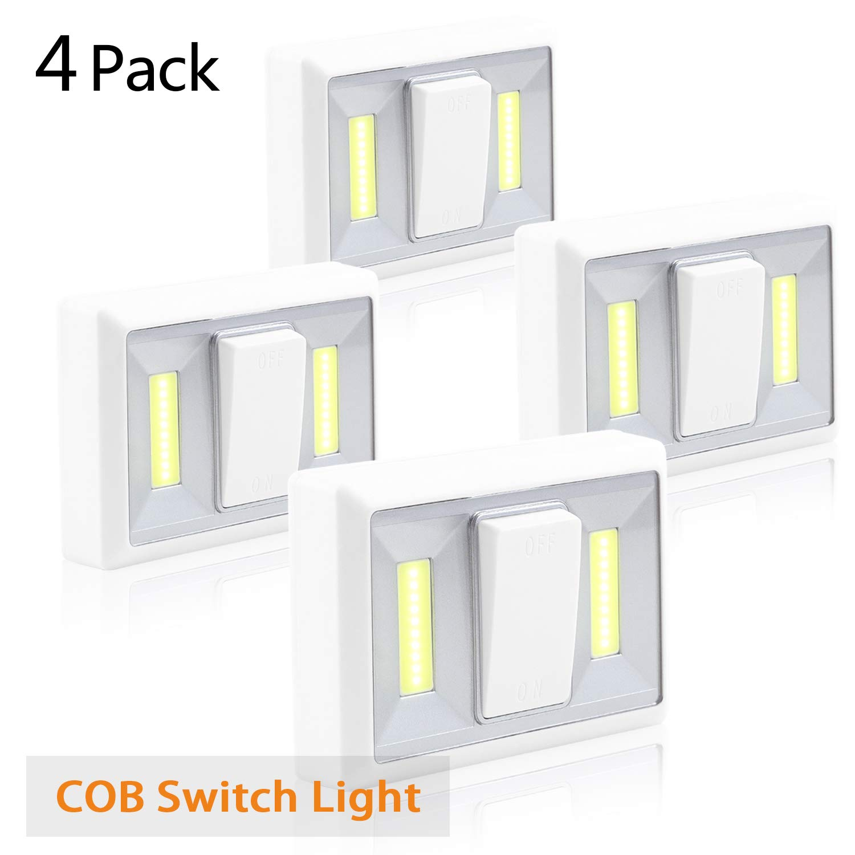 FC-Fancier Closet Light, Battery Operated, Tap Light, Touch, Night, Utility, Wall Wireless Mount Under Cabinet, Shelf, Shed, Kitchen, Garage, Attic, RV, DIY(4-Pack)