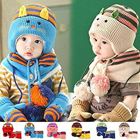 Hat Mittens Set Winter Warm Beanie Toddlers Children Baby Kids GIRLS Cap