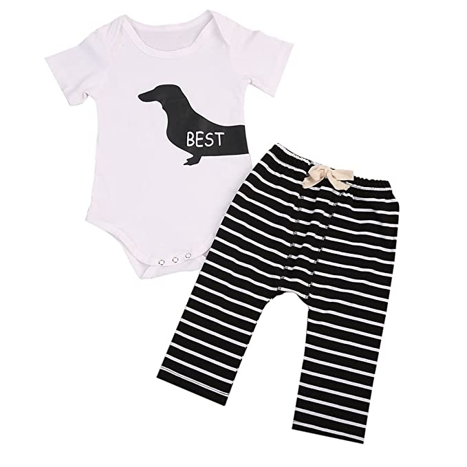 72ad165456485 2Pcs Infant Twins Baby Girl Boy Best Friends Short Sleeve Romper+Striped  Pants Outfit Clothes