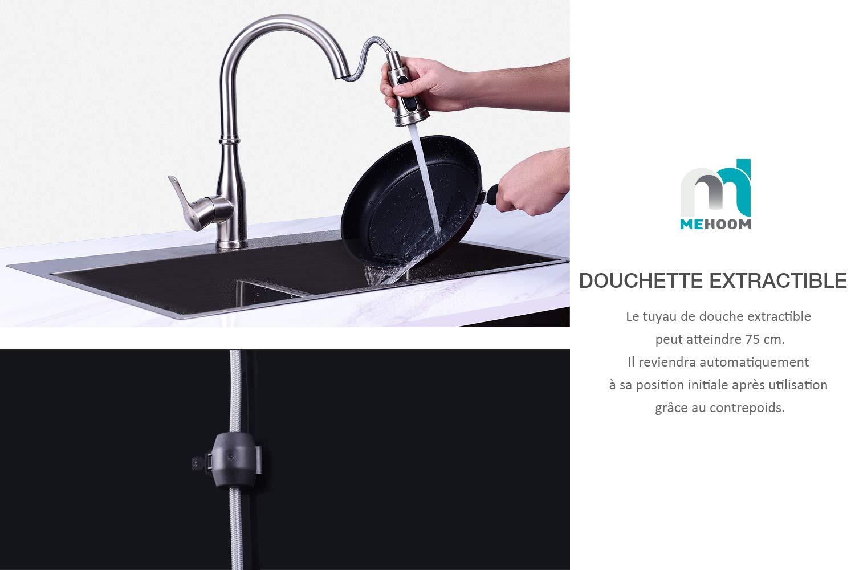 Froid /& Chaud Disponible MEHOOM Mitigeur /Évier Robinet 3 Fonctions bec Pivotant /à 360/° avec Douchette Extractible pour /Évier de Cuisine Robinet de Cuisine