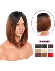 "12"" Short Straight Bob Wig Density Synthetic Hair Bob Wigs for Women Flapper Cosplay Costume Party (#Black/Light Auburn)"