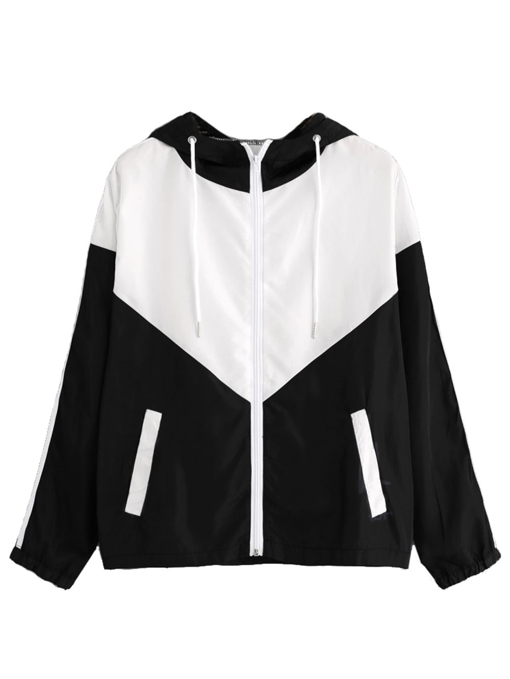 Milumia Women's Color Block Drawstring Hooded Zip up Sports Jacket Windproof Windbreaker Small White and Black-1