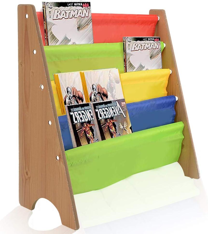 AllRight Book Storage Vintage Kids Wood Sling Book Display Storage Colorful Children Bookcase
