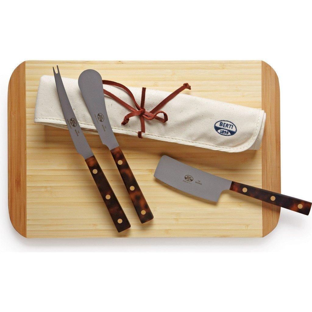 Coltellerie Berti Set of 3 Cheese Knives | Tortoise Handles