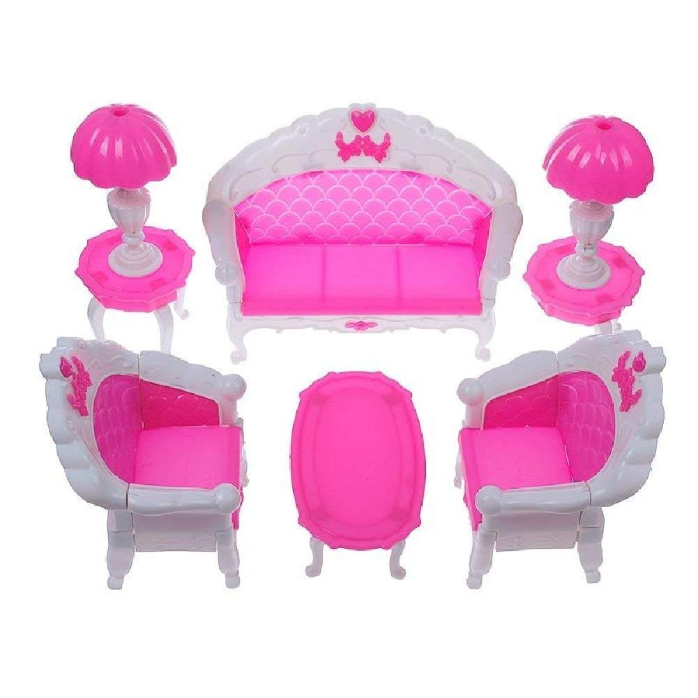 Fat-Catz-copy-catz Ensemble Mobilier Salon Rose Pour Poupée Mannequin Taille Barbie Sindy Divan Chaises Tables et Lampes pink living room furniture