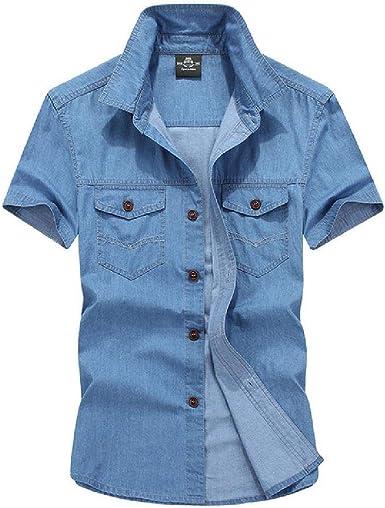 Camisa vaquera para hombre, estilo casual, talla grande, de algodón, manga corta, para hombre, ropa militar de calle: Amazon.es: Ropa y accesorios