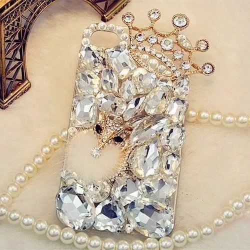 iPhone 7/8 Crystal Diamond Case,iPhone 7/8 Rhinestone Case,Luxury Fox Head Crown Crystal Rhinestone Diamond Bling Clear Hard Back Phone Case Cover for iPhone 7/8 (for iPhone 7/8)